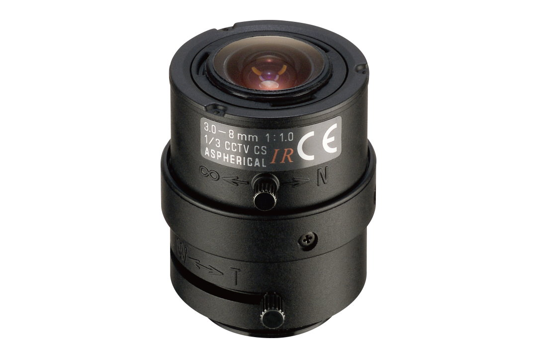 Compact 3 to 8 mm IR-Corrected CCTV Lens with CS-Mount
